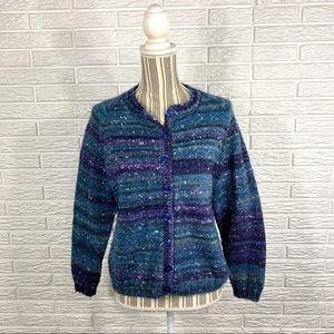 Handmade Striped Knit Cardigan Sweater